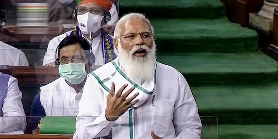Prime Minister Narendra Modi speaks in the Lok Sabha, on the first day of the Monsoon Session of Parliament (Photo | PTI)