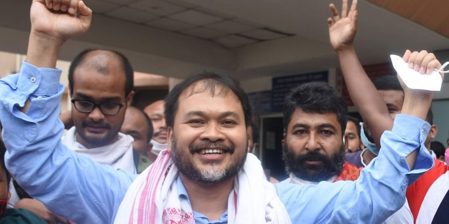 Sibsagar MLA Akhil Gogoi with his supporters celebrateing his release at the Guwahati Medical College and Hospital, in Guwahati on Thursday.