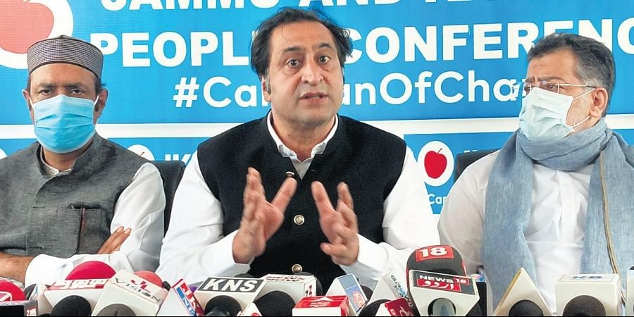Sajjad Lone briefs media about his party's position on Kashmir.