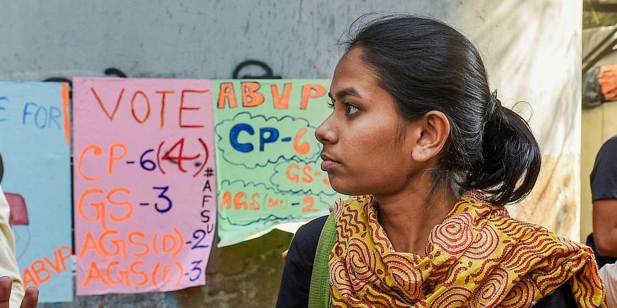 Jawaharlal Nehru University Students' Union JNUSU President Aishe Ghosh during a protest rally at Jadavpur University in Kolkata