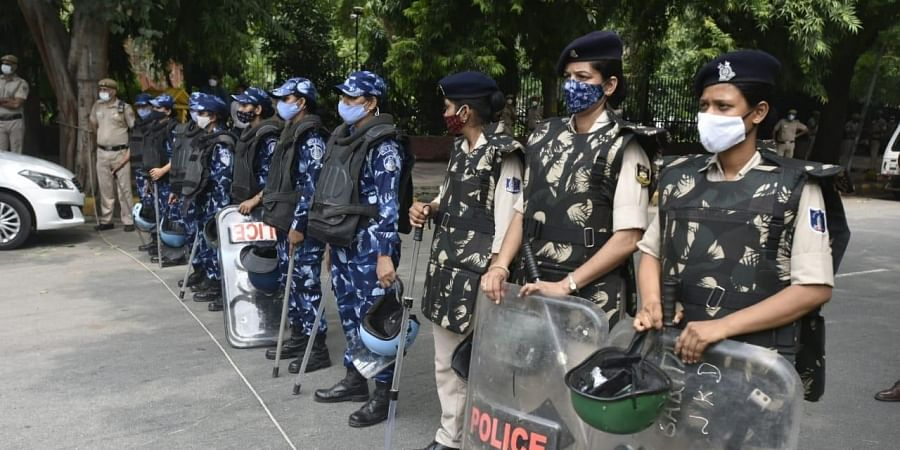 Security tightens at Jantar Mantar ahead of a farmers protest against three farm laws amid monsoon session of Parliament in New Delhi on Thursday.