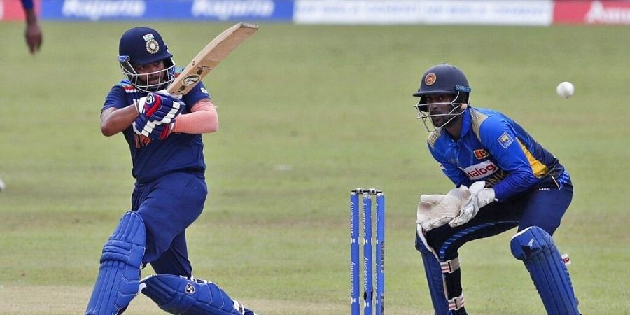 India's Prithvi Shaw plays a shot as Sri Lanka's wicketkeeper Minod Bhanuka watches during the third ODI at Colombo. (Photo | AP)