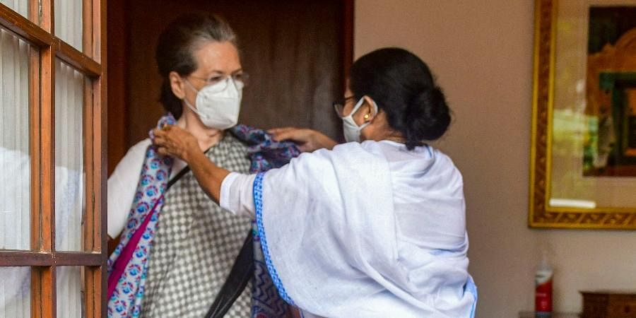 West Bengal CM Mamata Banerjee meets Congress Interim President Sonia Gandhi in New Delhi.
