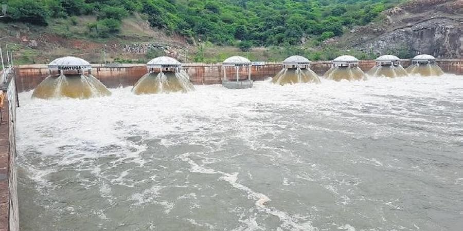 Kaleshwaram water being released from the six pumps at Nandi pumphouse