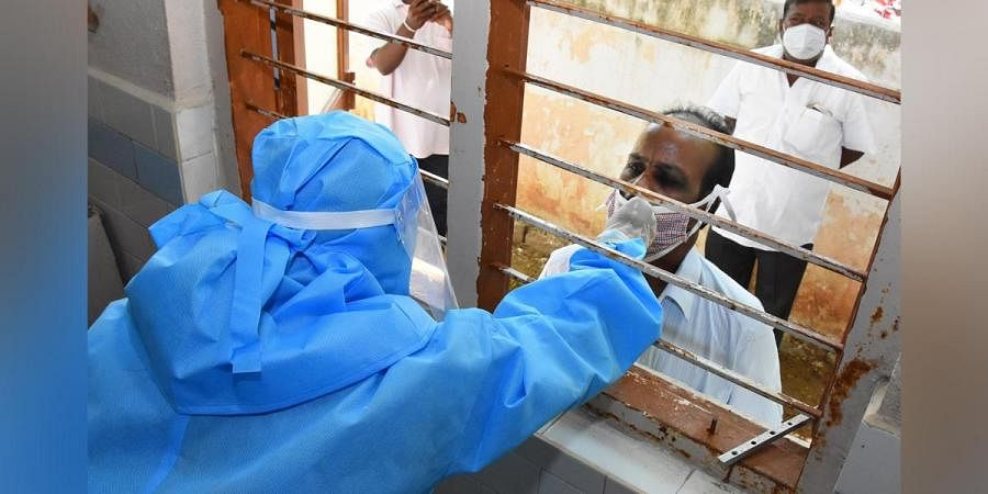 A tuberculosis patient being tested for COVID-19 in Tirupati