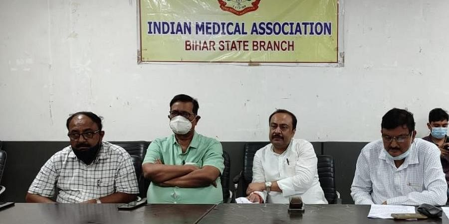 IMA members at a meet in Patna on Sunday with MP (RS) Vivek Thakur,