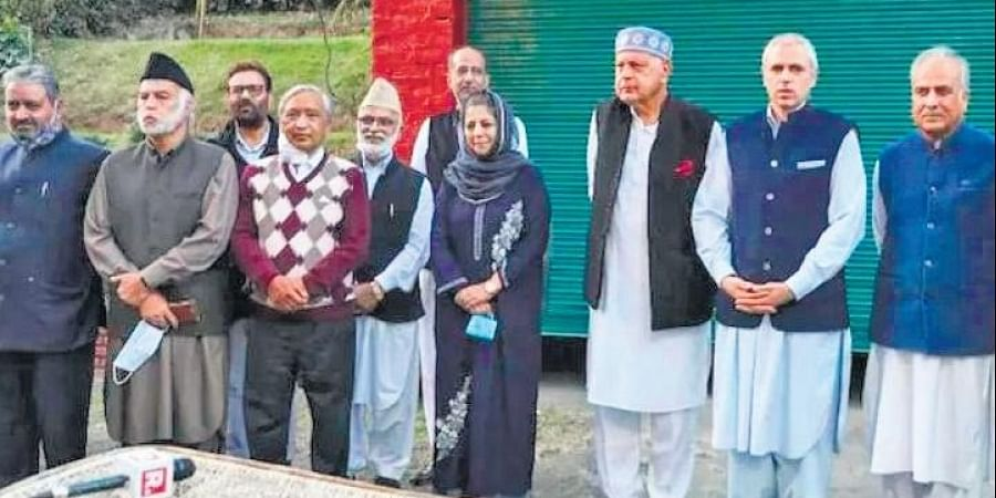 Alliance leaders met chairman Farooq Abdullah in Srinagar.