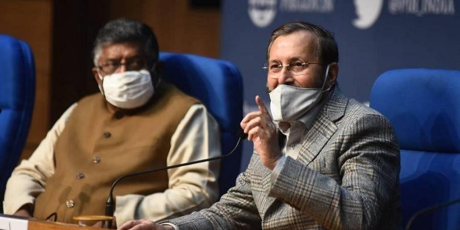 Union Ministers Prakash Javadekar and Ravi Shankar Prasad during a press conference at National Media Centre in New Delhi