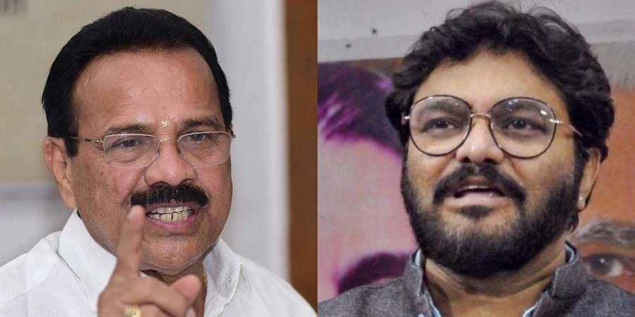 Union ministers DVSadananda Gowda (L) and Babul Supriyo
