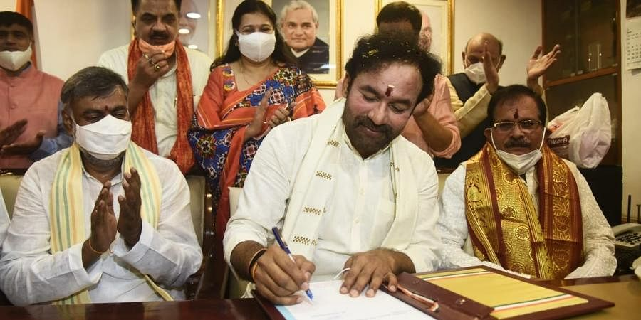 G Kishan Reddy takes charge as the Union Minister of Culture and Tourism