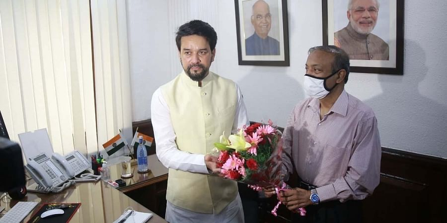 Anurag Thakur takes charge as the Minister of Youth Affairs & Sports at his office, in New Delhi. (Photo| Shekhar Yadav, EPS)