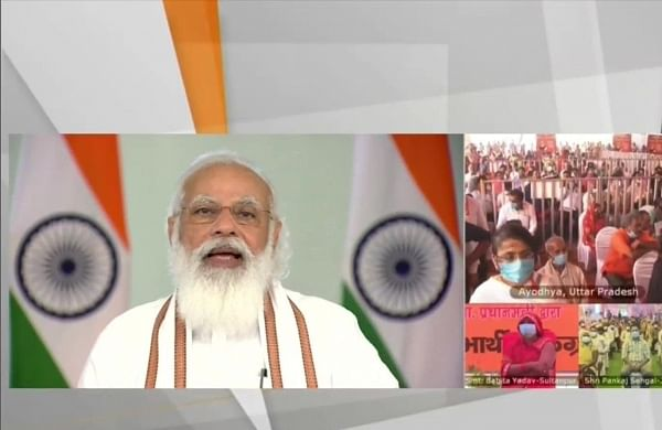 PM Modi interacts with beneficiaries of food security scheme in Uttar Pradesh