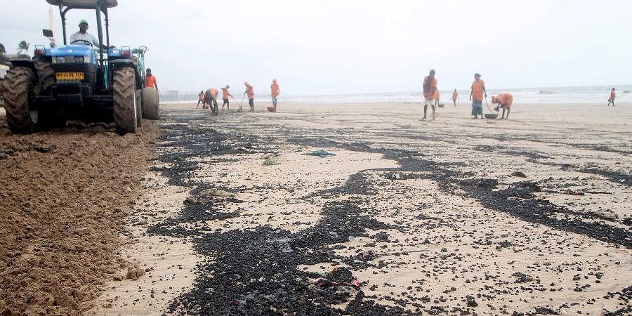 Oil spill on beach