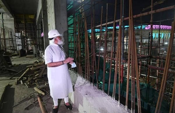 PM Modi visits new parliament building construction site, speaks to workers