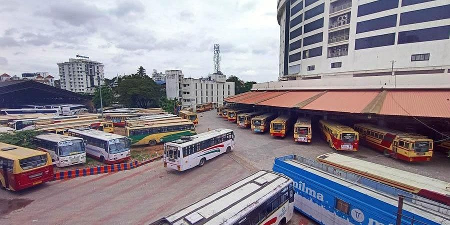 KSRTC buses parked at the Central bus station at Thampanoor in Thiruvananthapuram on Monday. (Photo | Vincent Pulickal, EPS)